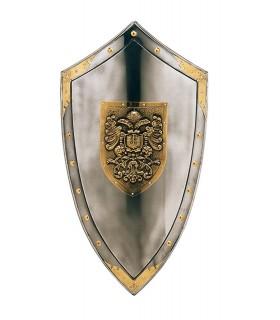 Escudo con grabado dorado de águilas y tachuelas alrededor