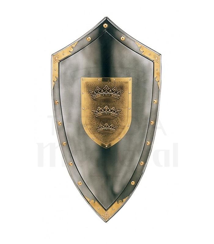 Escudo con tres coronas en el centro y tachuelas alrededor