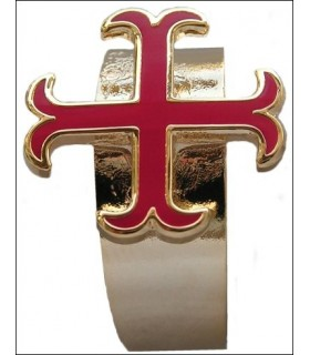Anillo templario auto-ajustable cruz anclada