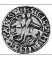 Imán sello templario, acabado plata