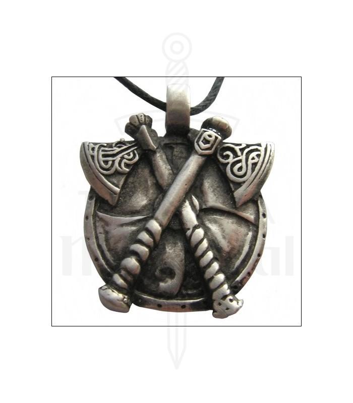 Colgante vikingo hachas en cruz