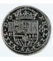 Moneda 8 reales plateada, 3,5 cms.