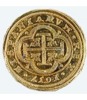 Moneda 100 escudos dorada, 4 cms.