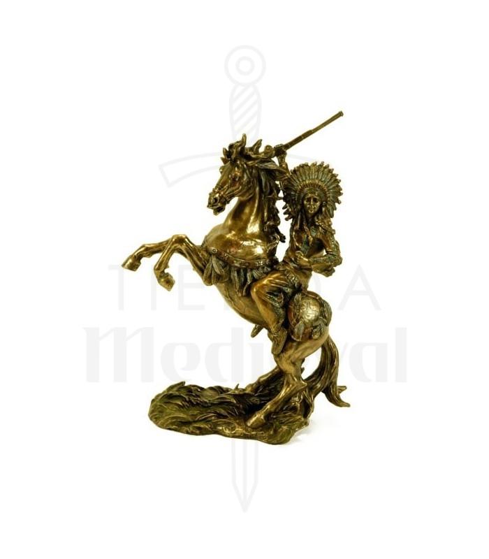 Figura indio a caballo con rifle
