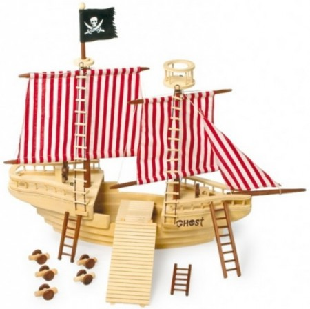Solid wooden pirate ship