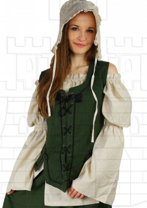 Chaleco medieval mujer color verde 495x675 - Chaleco medieval mujer color verde