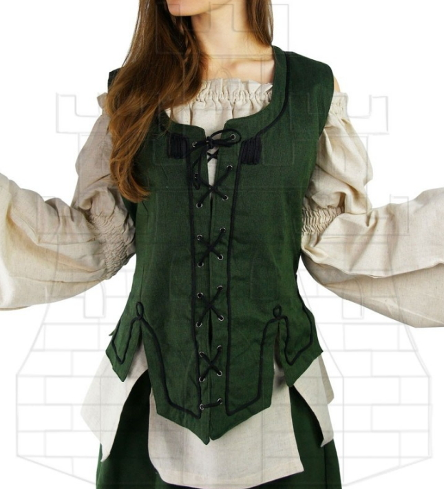 Chaleco medieval mujer verde - Corpiños, corsets y chalecos medievales para mujer