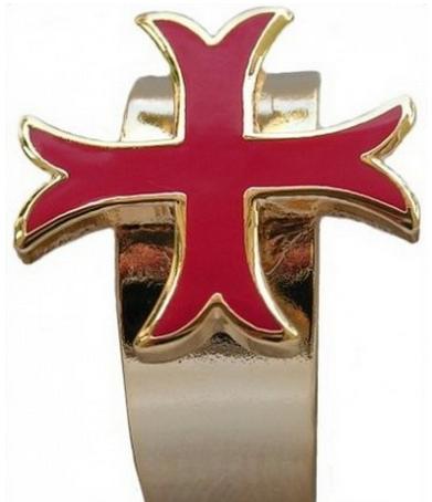 Annneau croix templière émaillée. Anneaux des Templiers